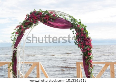 Wedding Arch Decorated Flowers Fabric Stock Photo Edit Now