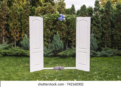wedding arch in the form of a door front view