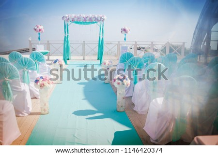 Wondrous Wedding Arch Soft Blue Chairs Decorated Stock Photo Edit Download Free Architecture Designs Sospemadebymaigaardcom