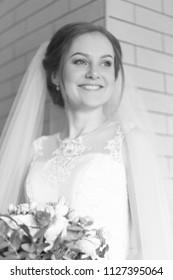Wedding attractive bride with bouquet