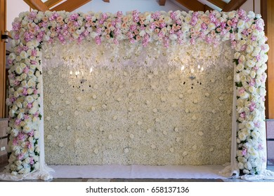 wedding backdrop with flower and wedding decoration