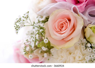wedding background decoration with beautiful pink rose