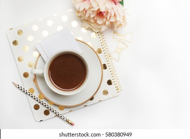 Wedding background mock-up. Flat lay. Coffee with notebook, and peony flower