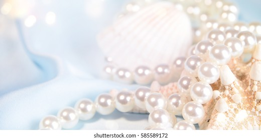 Wedding background with pearls and sea shell. Luxury wedding background