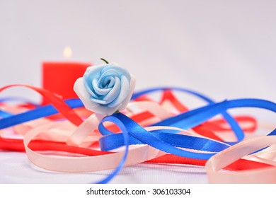 Wedding Background Thin Ribbons Candles Stock Photo (Edit