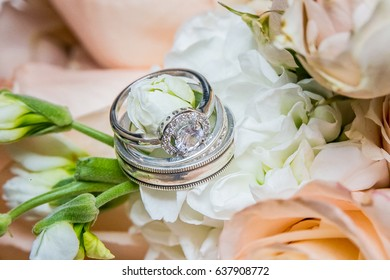 wedding band on a bouquet