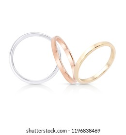 Wedding Band Ring jewelry group on white isolate