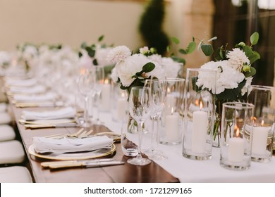 wedding banquet decoration in Italy. Luxury wedding reception in Italy. wedding banquet decoration background.