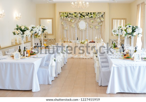 Wedding Banquet Decoration White Color Table Stock Photo
