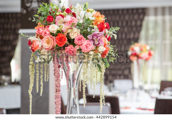 Wedding Banquet Flower Decoration Bright Red Stock Photo (Edit Now ...