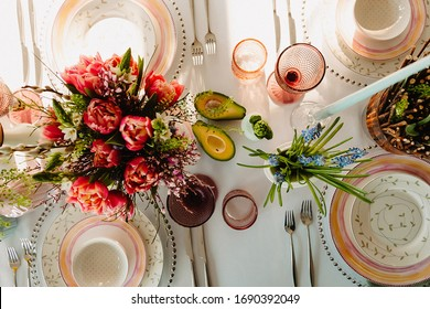 Wedding banquet flowers mimosa candles peony avocado yellow pink