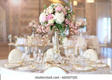 Wedding banquet table with flowers decoration