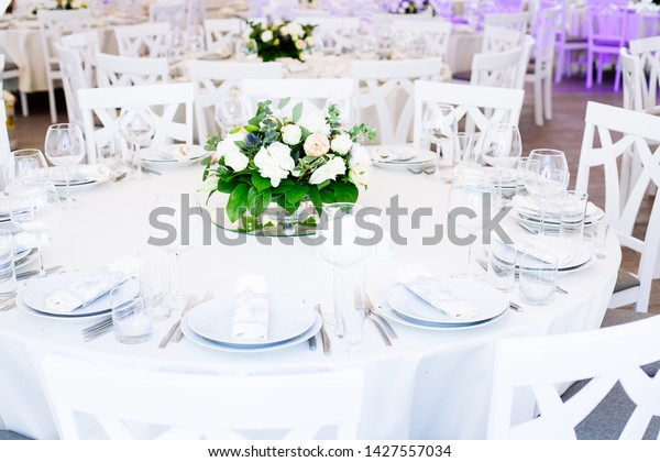 Wedding Banquet Table Set Wedding Reception Stock Photo (Edit Now ...