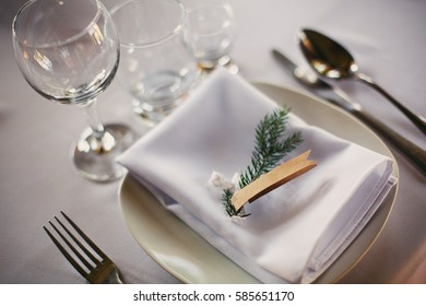 Wedding banquet table setting, space for name label guest