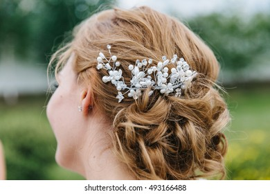 Wedding barrette for bride's hair.