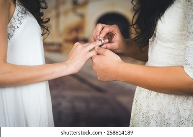 wedding beautiful lesbian couple in love getting married concept of marriage equality