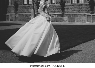 wedding in black and white, happy young bride