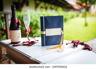 Wedding book for wishes.  Champagne and champagne glasses for a wedding ceremony