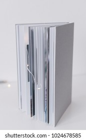 Wedding books with a gray linen cover