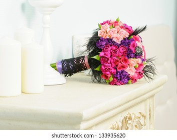 Wedding bouquet of beautiful colorful roses for bride