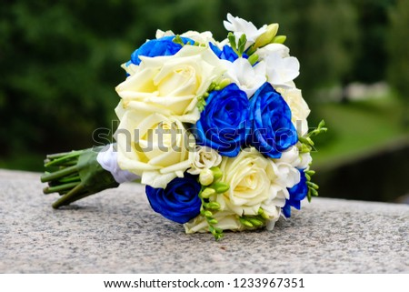 Wedding Bouquet Blue Yellow Roses On Stock Photo Edit Now