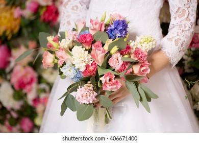 Wedding bouquet, bride flowers.