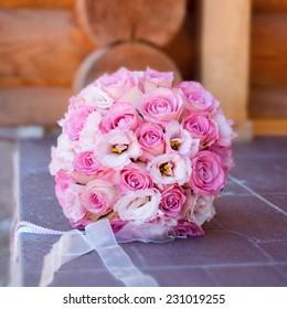Wedding bouquet. Wedding day. Wedding decorations. Happy newlyweds.