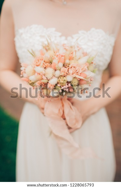 Wedding Bouquet Dried Flowers Brides Hands Royalty Free Stock Image