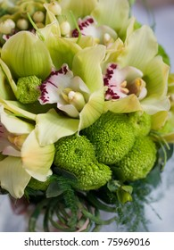wedding bouquet of green flowers