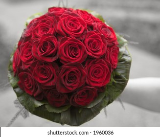wedding bouquet made of grand prix roses