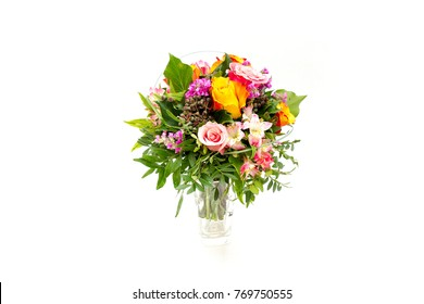 Wedding bouquet made of pink, orange, purple roses and flowers isolated on a white background.