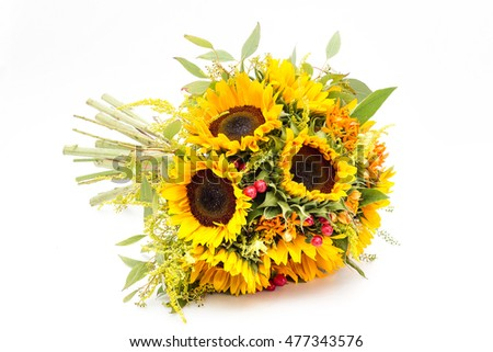 Wedding Bouquet Made Sunflowers Roses Isolated Stock Photo Edit Now