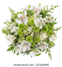 wedding bouquet made of white Alstroemeria and green Chrysanthemum flowers seen from above.