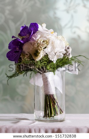 Wedding Bouquet Made White Purple Orchid Stock Photo (Edit Now ...