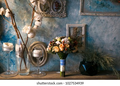 wedding bouquet on the background of vintage photo frames