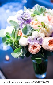 Wedding bouquet on a blurry background. Wedding flowers.
