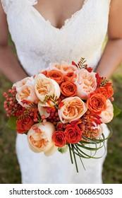 Wedding Bouquet with Orange Roses