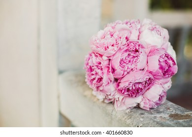 Wedding bouquet of peony