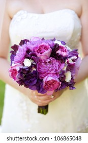 Wedding Bouquet with Pink and Purple Flowers