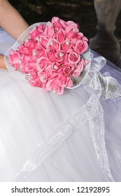 Wedding Bouquet with pink roses and pearly beads