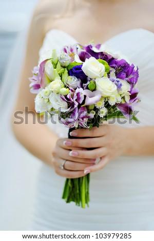 Wedding Bouquet Purple White Flowers Stock Photo Edit Now