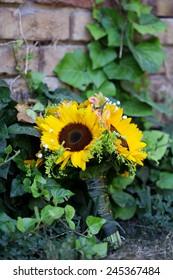 Wedding bouquet of sunflower