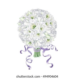 Wedding bouquet of white flowers. To design cards invitations and posters. Watercolor illustration. Handmade drawing.