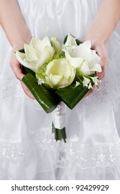 wedding bouquet of white lilies
