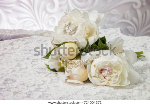 Wedding Bouquet White Peonies On Wedding Stock Photo Edit Now
