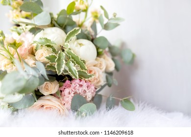 Flower arrangement images stock photos vectors shutterstock wedding bouquet of white peony and red roses lots of greenery at the at the mightylinksfo