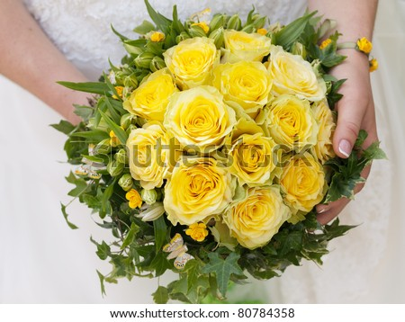 Wedding Bouquet Yellow Roses Stock Photo Edit Now 80784358