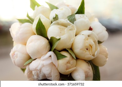 Wedding bridal bouquet. peonies