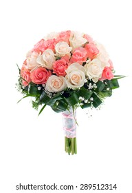 Wedding bridal bouquet of roses. isolated