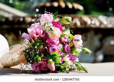 Wedding bride bouquet pink roses purple lisianthus flowers & lavender. Delicate pink gentle lisianthus, purple lavender flowers wedding bouquet. Beautiful wedding bride bouquet pink purple lisianthus